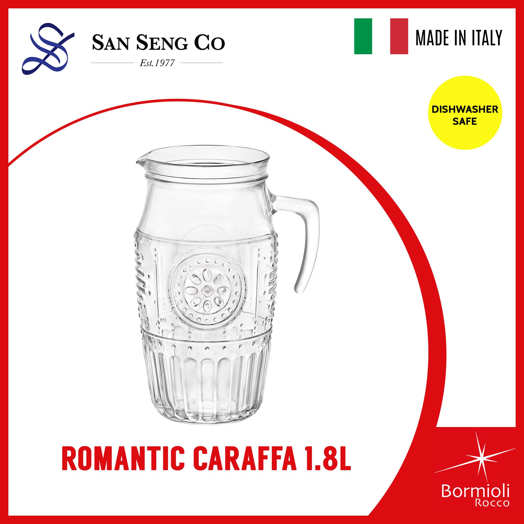 72-3//4-Ounce Bormioli Rocco Glass Co Inc 135729MP4321990 Bormioli Rocco Kufra Jug with Ice Container and White Lid