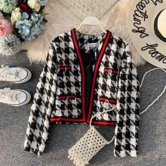 2019 ฤดูใบไม้ร่วงและฤดูหนาวใหม่เสื้อผ้าหญิงแฟชั่นมีมาด Chanel สีตัดกัน Houndstooth เสื้อผ้าแฟชั่น แบบสั้นเสื้อสูทเสื้อแขนยาวเปิด-