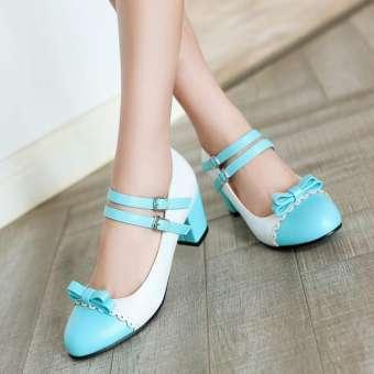 สไตล์ญี่ปุ่น Lolita โลลิต้าตัวกลัดเป็นขีดเดียวอ่อนหวานโบว์สีผสมนักเรียนสาวน้อยอ่อนโยน cos โลลิตารองเท้าส้นสูง