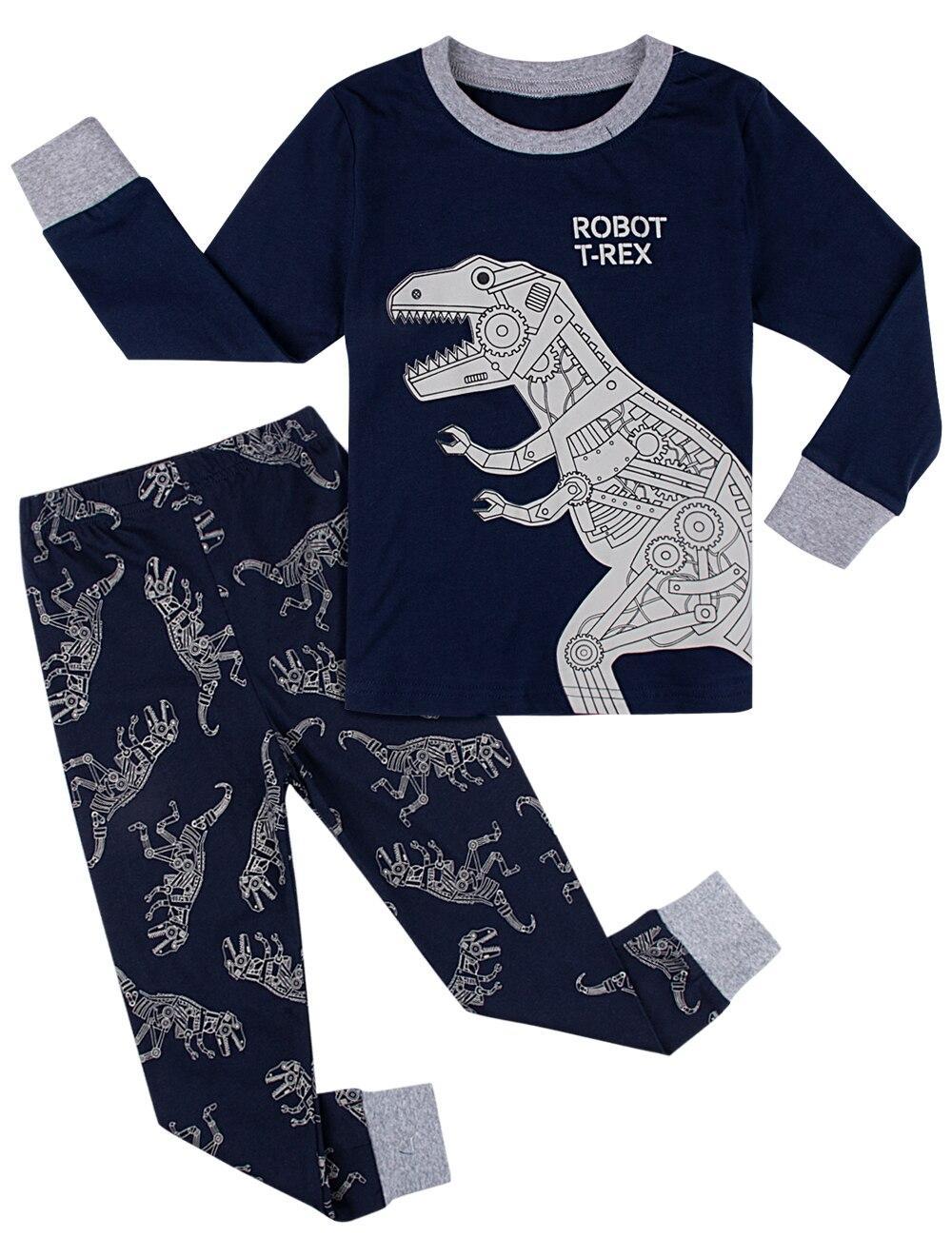 Kids Boys Long Sleeve Animals Dinosaur Cotton Pajamas Sleepwear Nightwear Set