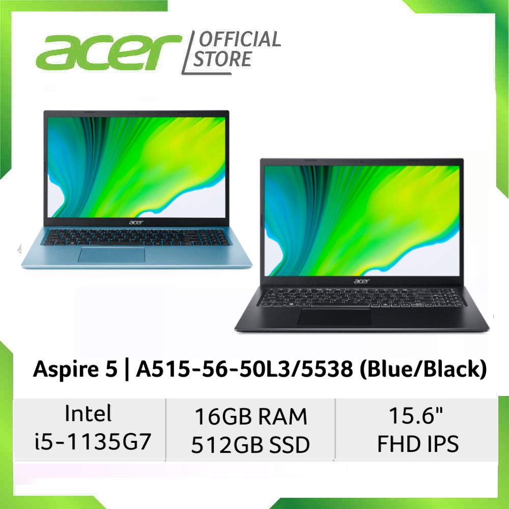 """Acer Aspire 5 A515-56-50L3/5538 (Blue/Black) 15.6"""" FHD IPS Laptop with 11th Gen Intel i5-1135G7 Processor and 16GB RAM"""