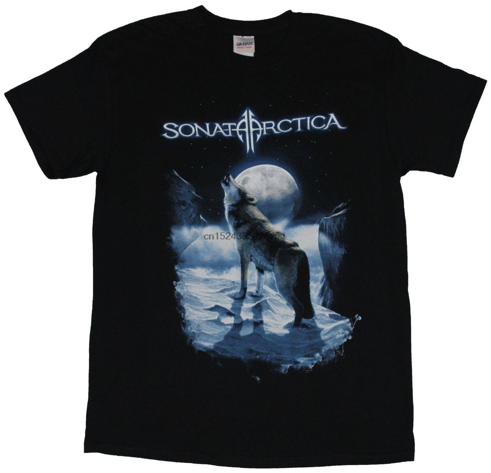 Sonata Arctica - Howling Moon Wolf In The Snow Image Cartoon New 100% Cotton Fitness Men's T-shirts Birthday Gift