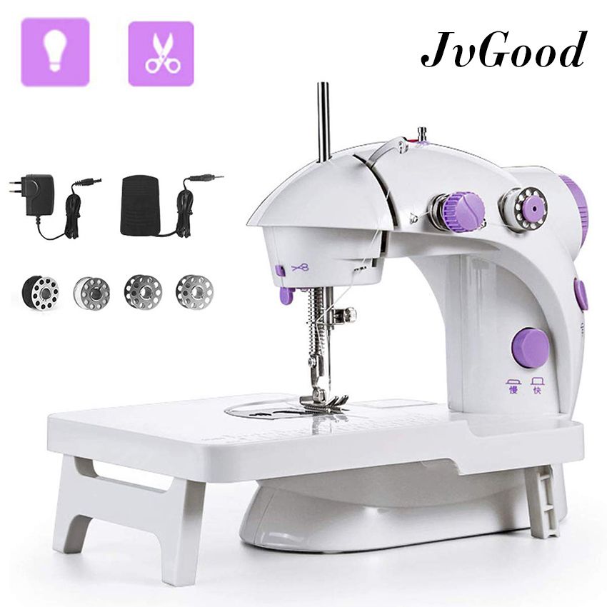 Mini Sewing Machine Beginner Extension Table Portable Adjustable 2-Speed Double Thread Sewing Machine with Needle Protector Perfect for Child