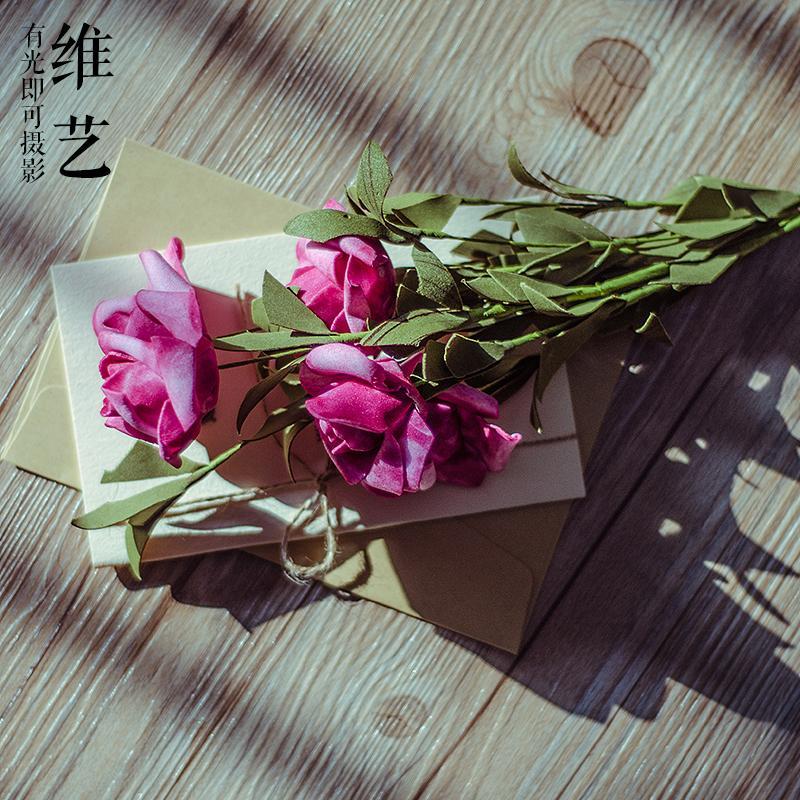 Photographic Prop Wedding Dress Studio RENOPIA 5 Head Vintage Red Color Artificial Rose Photography Photographic Prop