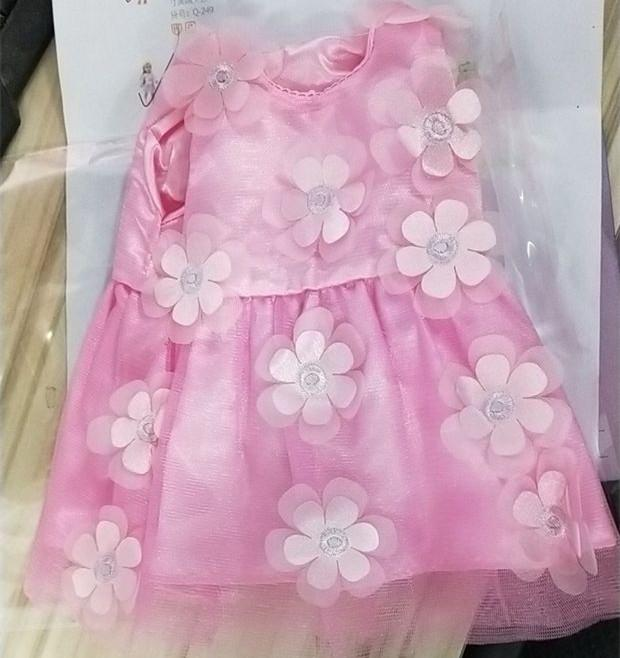 DeMeis Romantic Pink Flowers Princess Dress Wedding Dress Simulate Skirt Dress for 18 Inches Doll