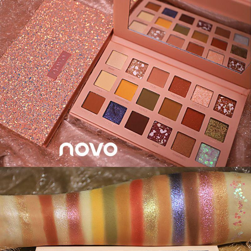 Novo Eye Shadow Shimmering Powder Pearly Lustre Waterproof Unicorn Online Celebrity a Bling Flash Eyeshadow Compact INS Ultra-Fire Cheap Students
