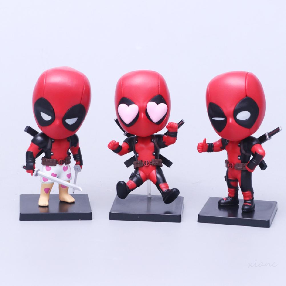 3Pcs/Set 11.5CM Marvel Comics Deadpool Car Decoration PVC Hand-made Model Action Figures Toys High Quality Collection