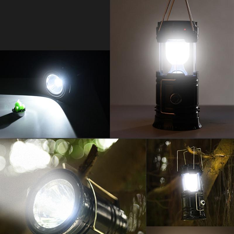 Solar Power Retractable Camping Tent Light Flame Effect Lamp Lantern Flashlight