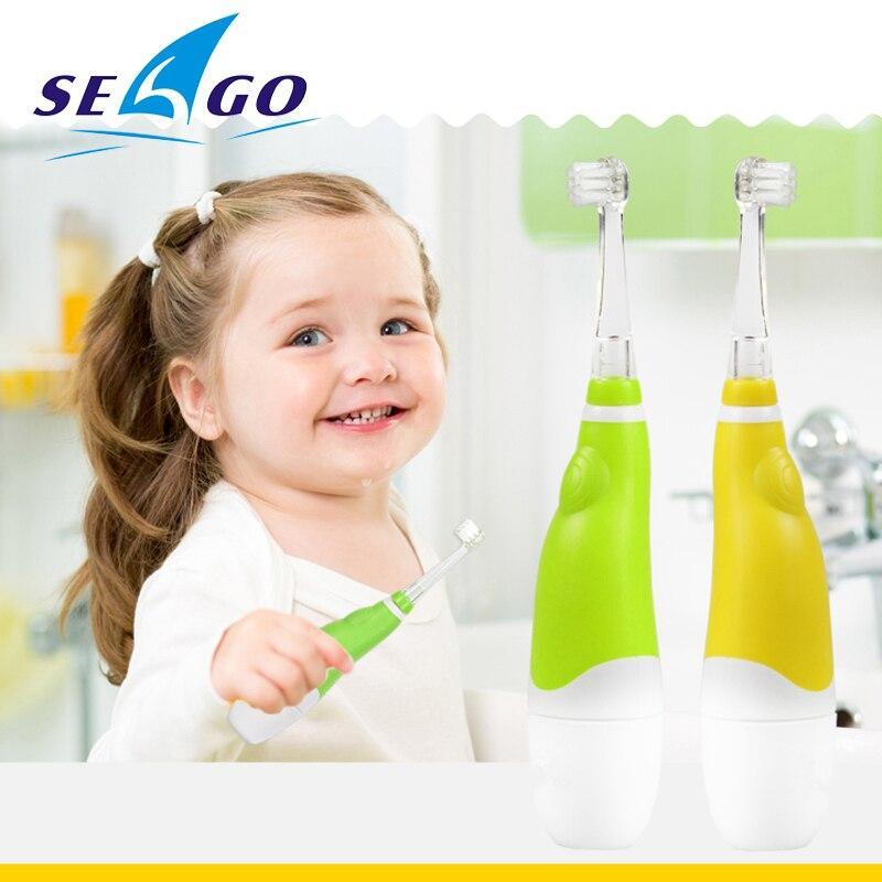 Cepillo de dientes eléctrico Seago para niños de 0 a 4 años luz LED cerdas suaves cepillo de dientes de dos colores Small house Store
