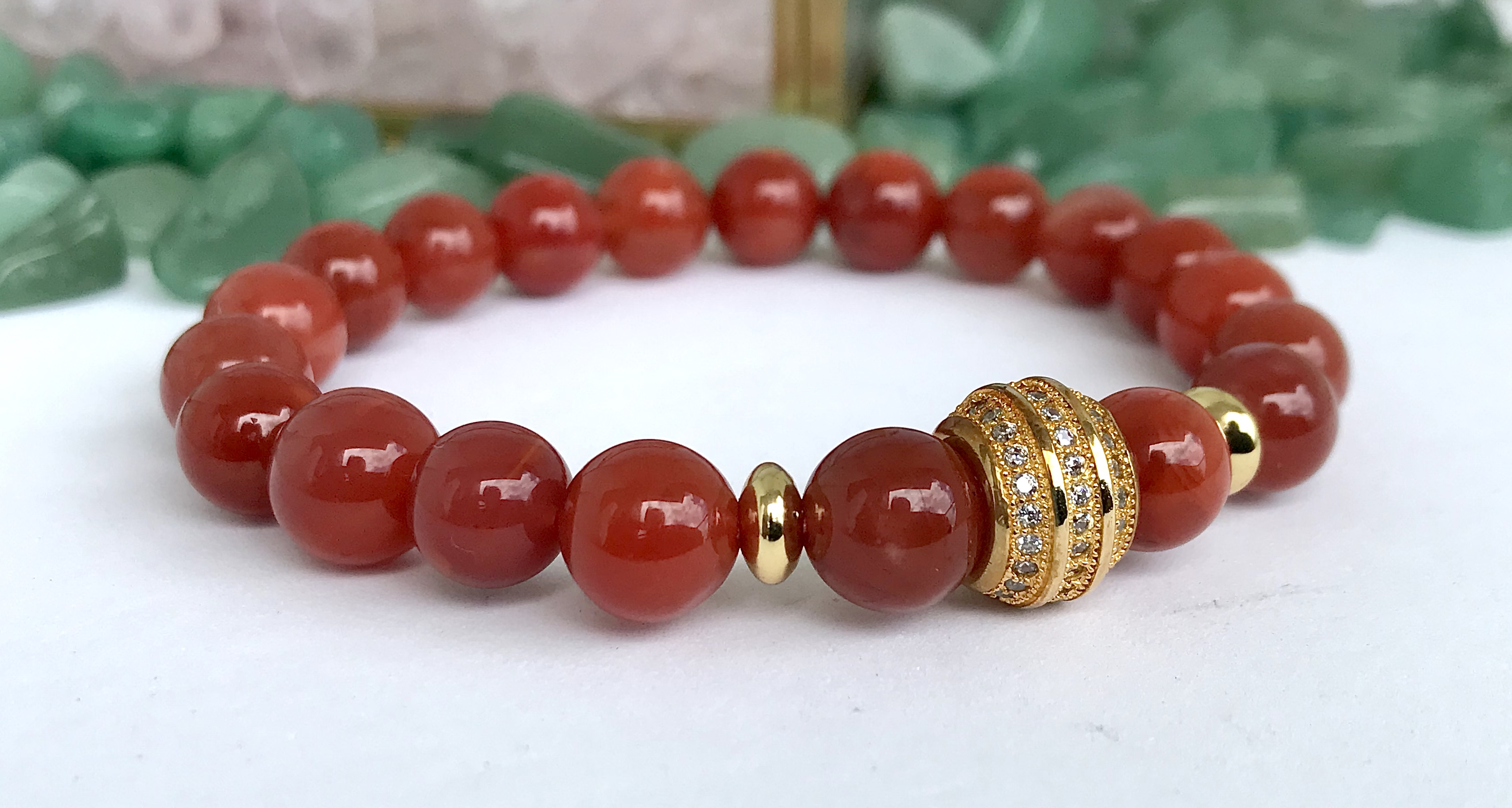 Productivity Daily Wear Handmade and Stretchable Free Shipping July\u00a0Birthstone Bracelet Success Carnelian Prosperity and Protection