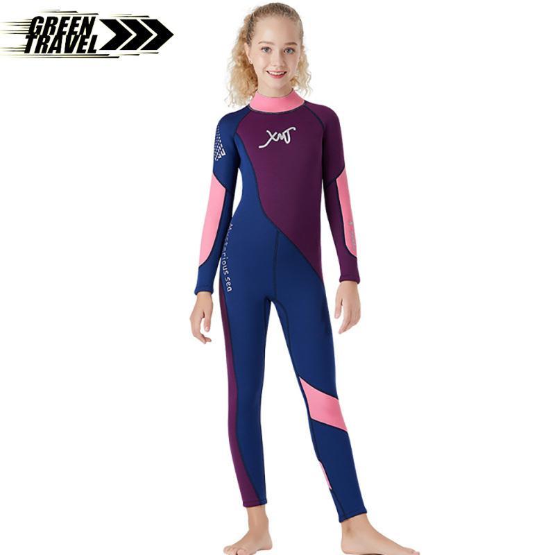 Green Travel 2.5MM Children Diving Suit Junior Swimwear Siamese Thicken Diving Surfing Winter Jellyfish Suit