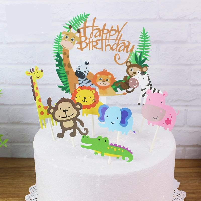8 In 1 Cute Animals Cake Topper Set Cake Decorations Animal Cupcakes Lazada Singapore