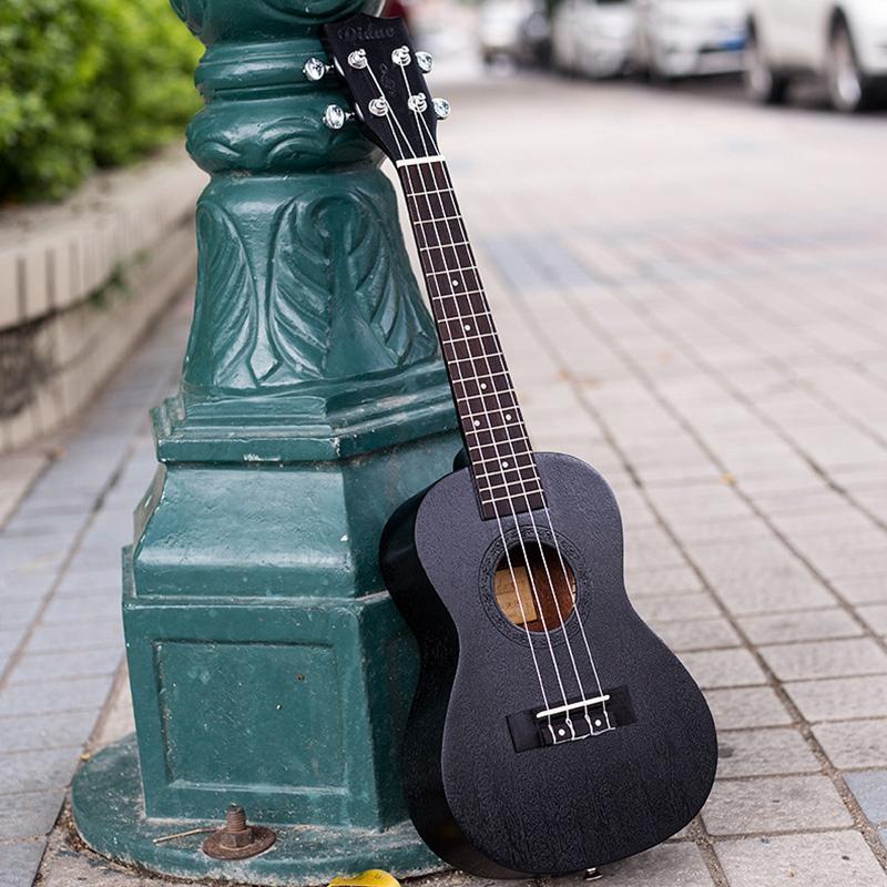 24 inch Black Mahogany Fingerboard Concert Ukulele Sapele Wood Concert Hawaii for Beginner Mini Guitar Fretboard Stringed Instrument