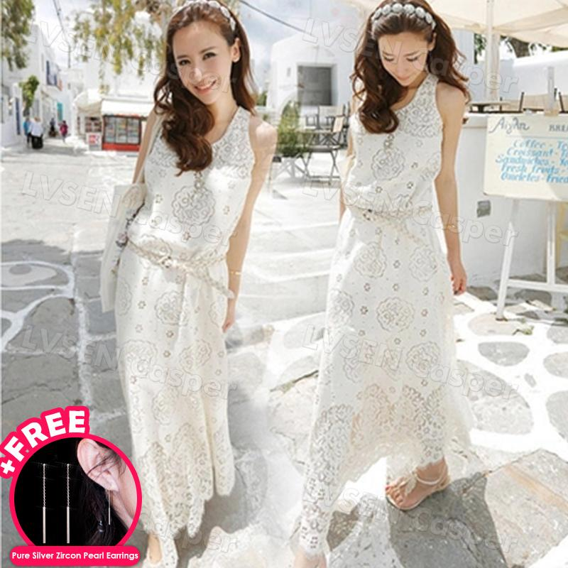b07ef0546c754 Summer Korean Women Dress Bohemian Sundress Hollow Out Trims Lace Beach  Floral Maxi Long Dress Flare Elegant Cocktail Party In Sleeveless Slim  Waist ...