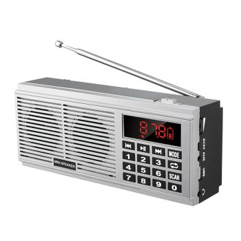L-518 Digital MP3 Music Player Speaker Mini Portable Mini Auto Scan FM AM MW Radio Receiver(Silver)