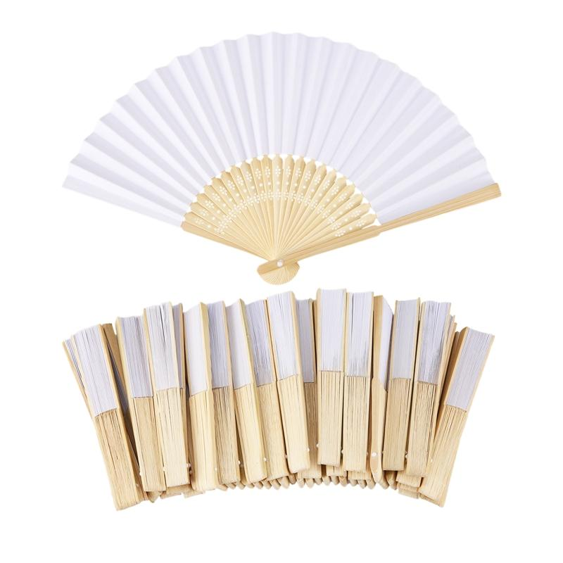 50 pcs/lot White Folding Elegant Paper Hand Fan Wedding Party Favors 21cm Singapore