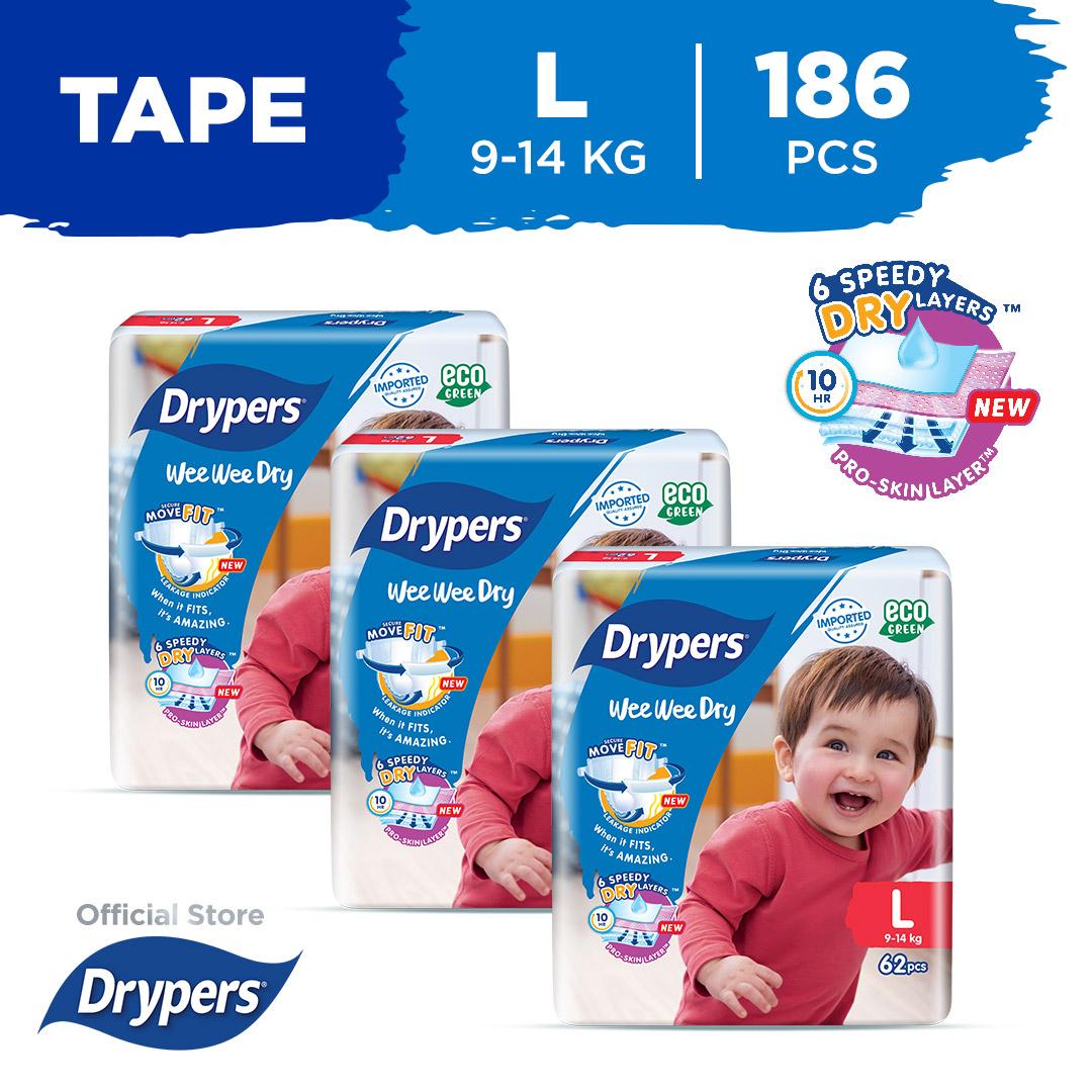 Drypers Wee Wee Dry L (9 - 14Kg) 62S X 3 Packs 186Pcs