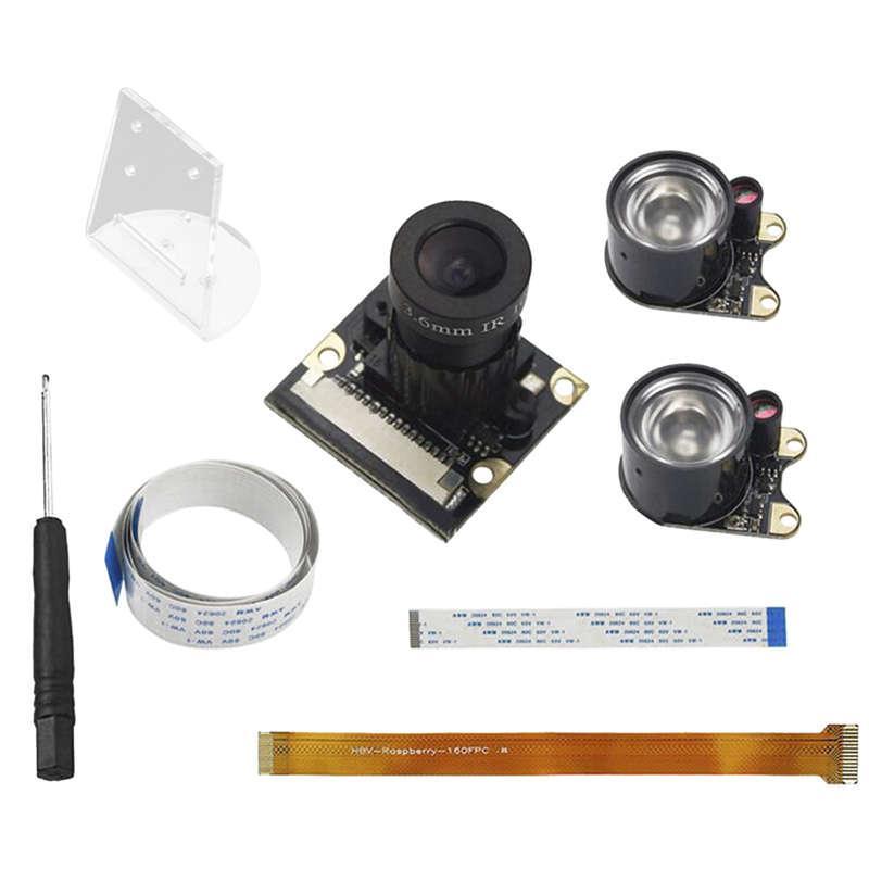 5 In 1 Ir Night Visible 3.6Mm Fisheye Camera Ov5647+Holder For Raspberry Pi 3B+ /3B