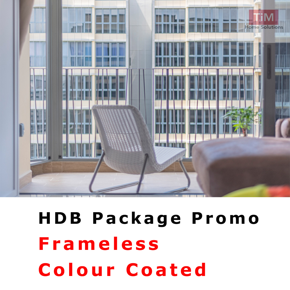 Invisible Grille HDB Package, Frameless, Colour Powder Coat, Delivery Date is first onsite measurement only