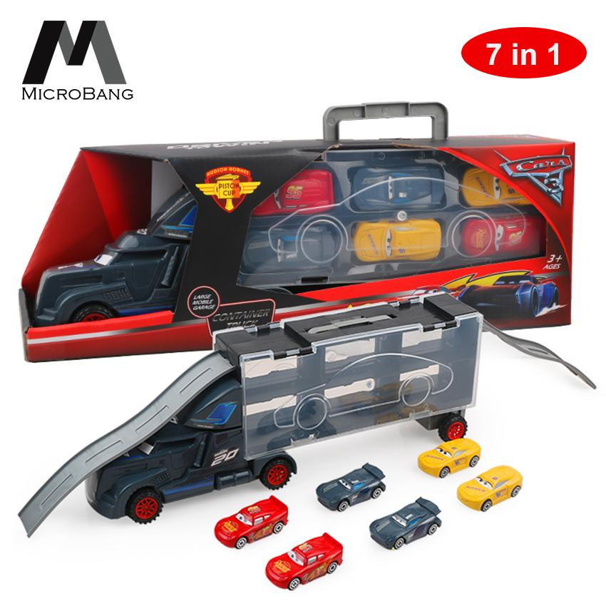 MicroBang 7 in 1 Vehicle Playsets McQueen Pixar Cars 3 Jackson Storm Daniel Swervez Mack Uncle Truck Hauler and 6PCS Mini Model Car Figure Toys Playsets Best Gifts for Kids image on snachetto.com
