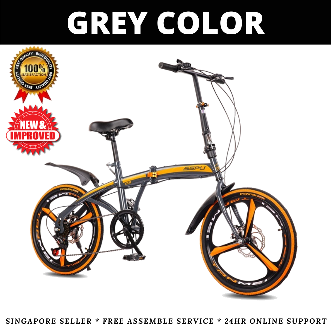 [SG SELLER] Sport Foldable Bicycle 20Inch 6Speed Shimano Gear Shifter And Rear Derailleur Lightweight Compact Foldable