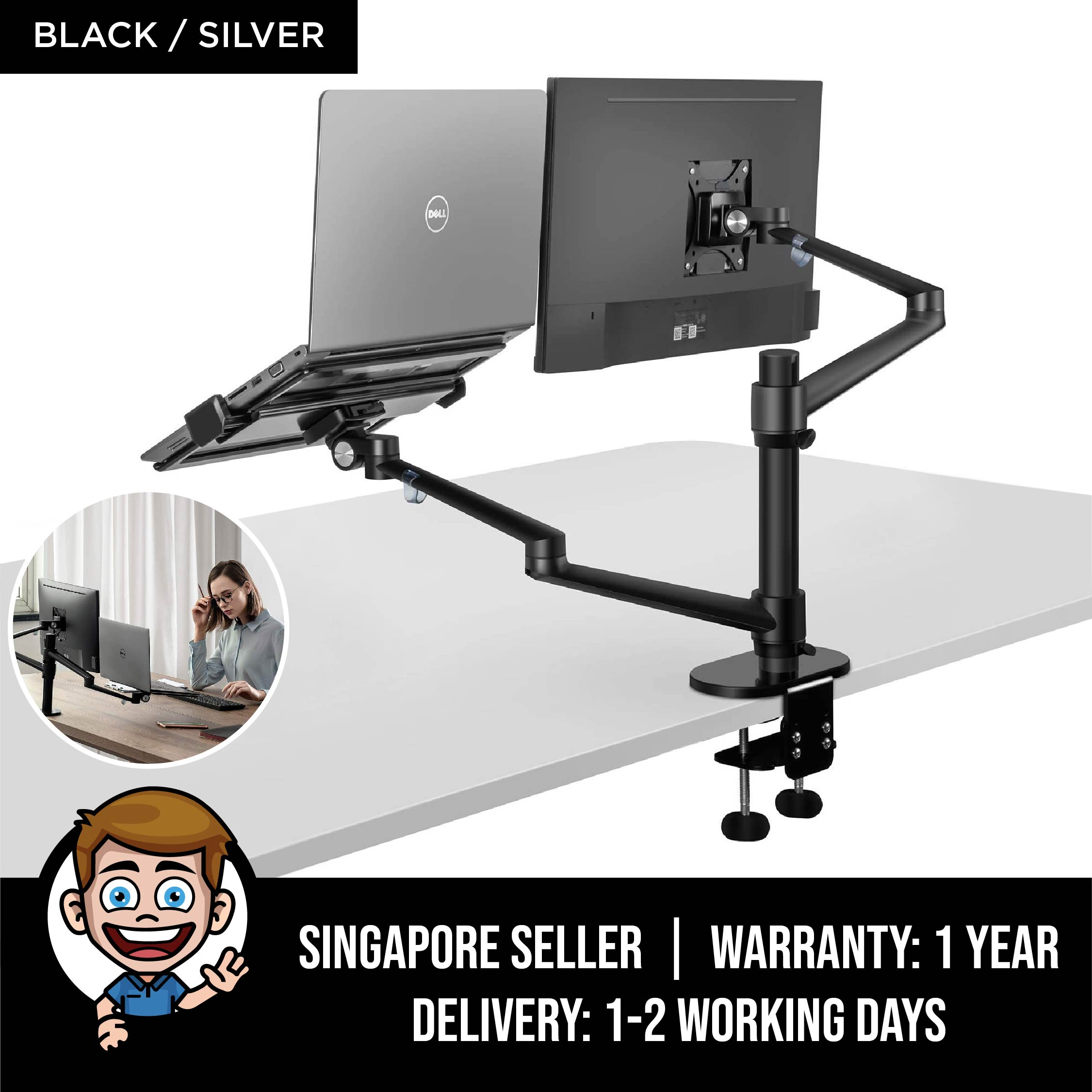 Monitor and Laptop Mount, 2-in-1 Adjustable Dual Monitor Arm Desk Mounts,Single  Desk Arm Stand/Holder for 17 to 32 Inch LCD Computer Screens, Extra Tray  Fits 12 to 17 inch Laptops - Black /