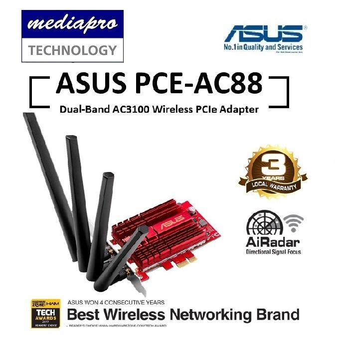 ASUS PCE-AC88 Wireless AC3100 Dual-Band PCI-E Adapter Asus Official warranty