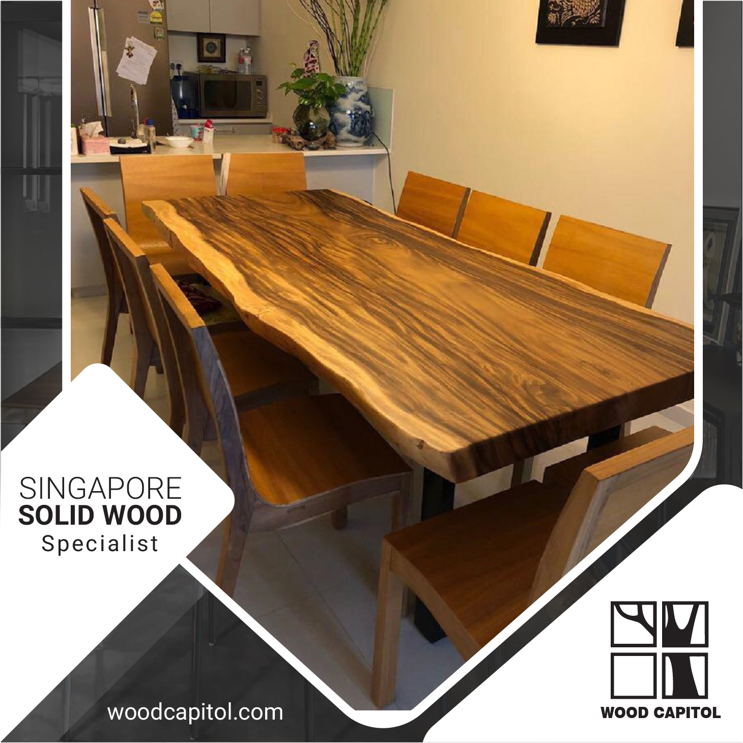 Wood Capitol Natural Wood Dining Table Lazada Singapore