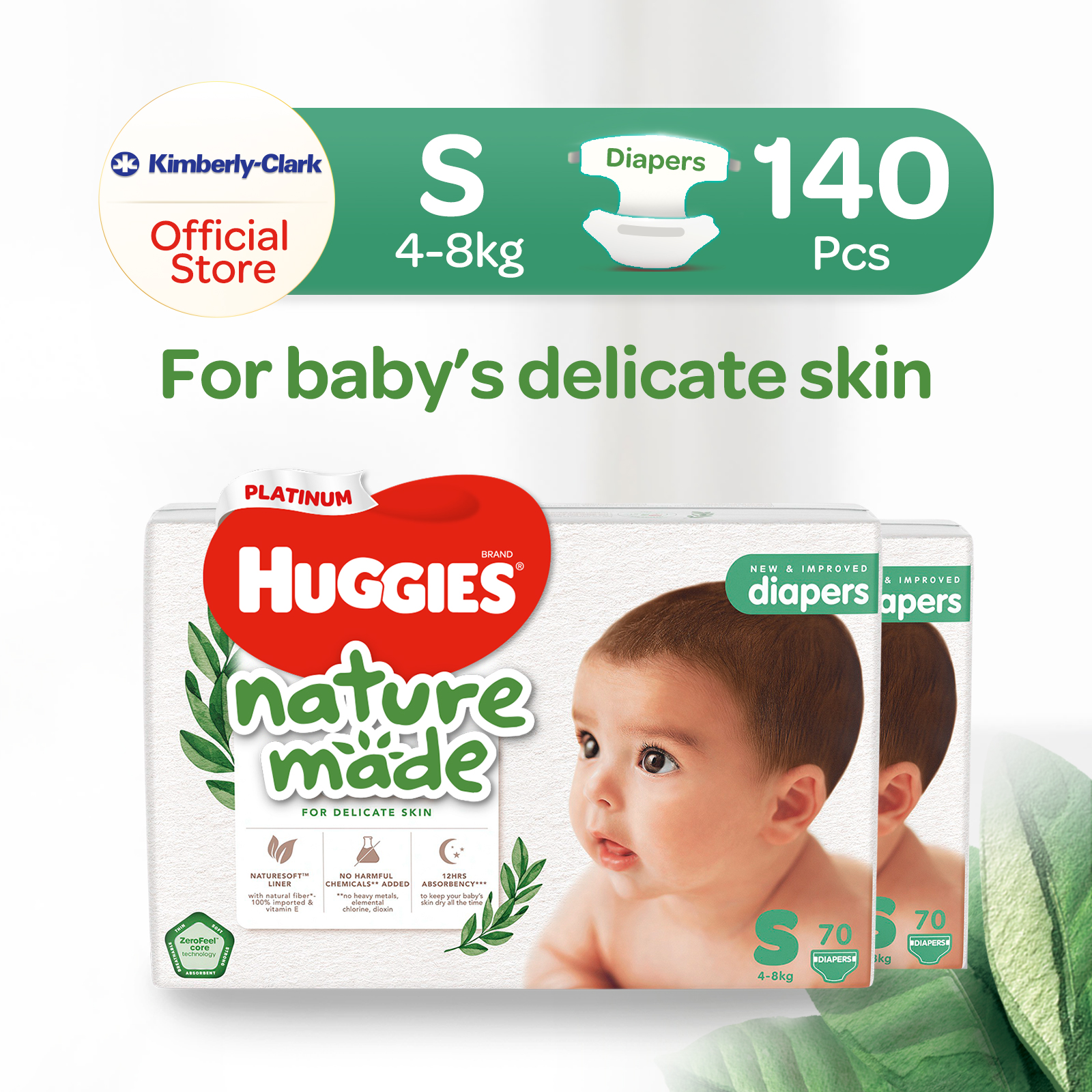 [Bundle Of 2] Huggies Platinum Naturemade Tape Diapers S x2 140pcs