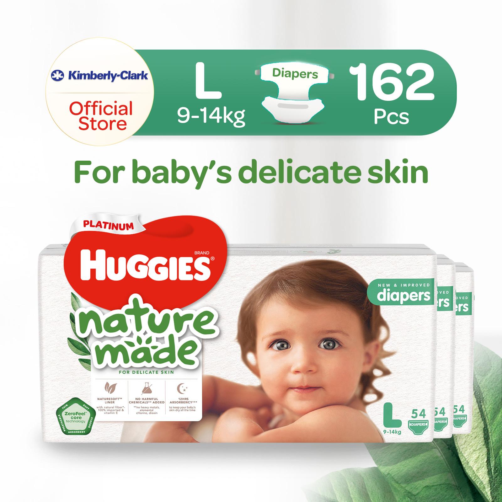 [1 Carton] Huggies Platinum Naturemade Tape Diapers L x3 162pcs
