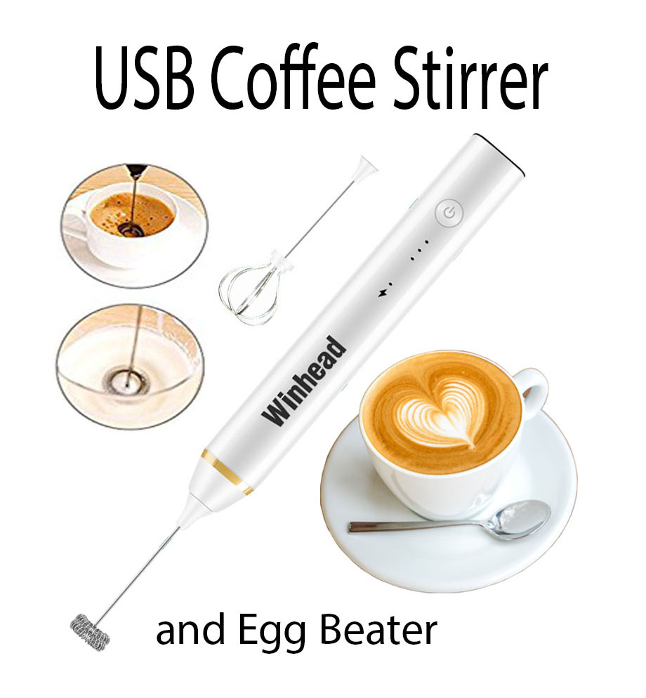 NEWEST Handheld Electric USB Charging Egg Beater Milk Frother Mixer for Coffee