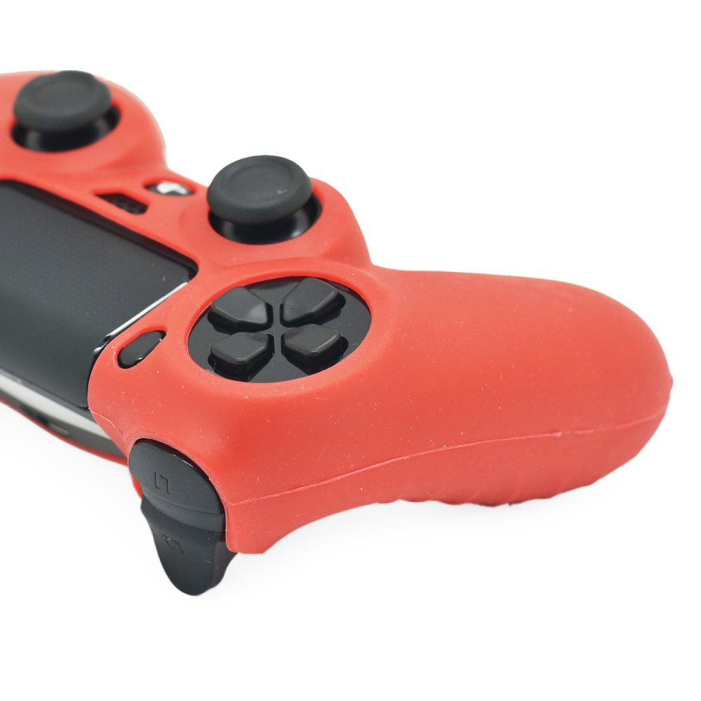 Silicone Rubber Skin Grip Case for PlayStation 4 PS4 Controller Red