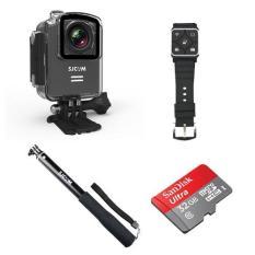 SJCAM M20 Action Camera (Black) Bundle Kit (with Monopod + Remote + 32GB MicroSD)