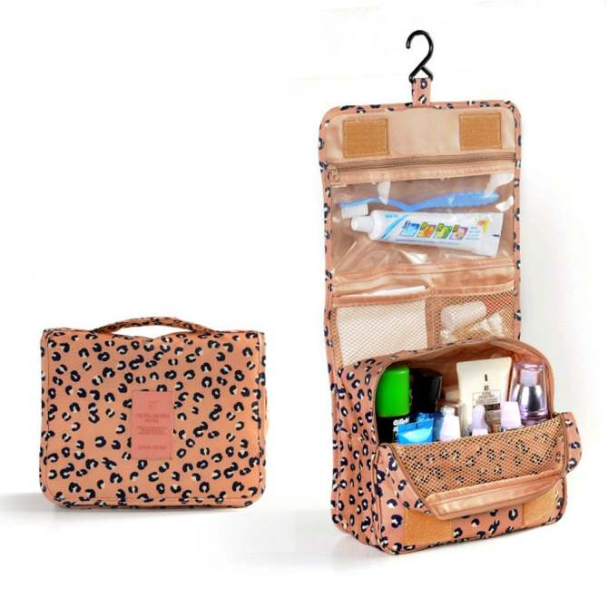 Travel Wash Bag Toiletry Toiletries Hanging Folding Bag(Leopard Print)
